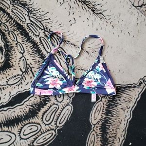 Vs pink floral triangle mesh bralette navy S